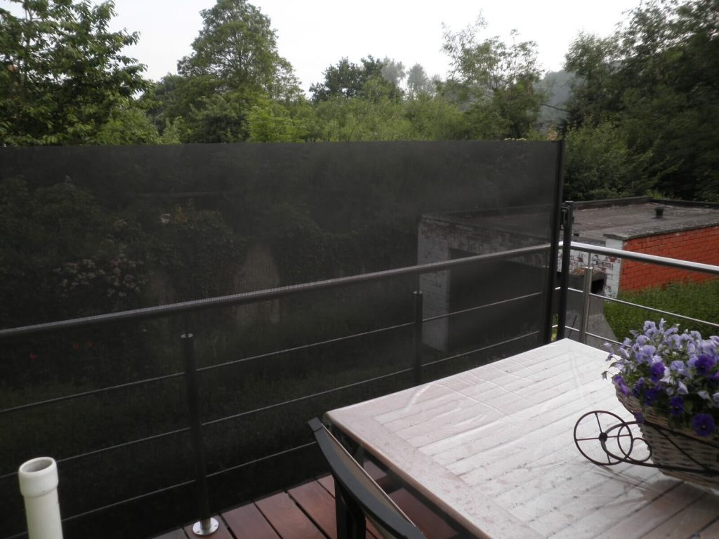 Windscherm op balkon - winddoek antraciet-zwart