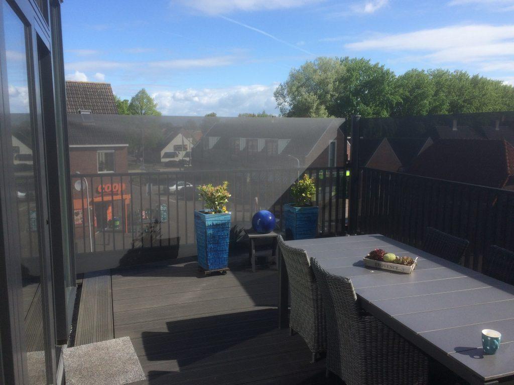 windscherm balkon met winddoek, antraciet-zwart